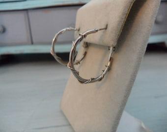 Vintage Silver Hoop Earrings Small Hoop Earrings Wire Wrapped Modern Hoop Earrings Silver Small Hoops Hipster Earrings Everyday Jewelry