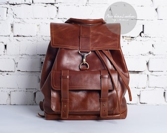 Travel backpack, brown leather backpack, leather backpack, mens leather backpack, hipster backpack, leather back pack, womens backpack