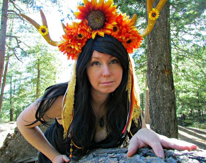 Deer Horn Headdress, Sunflower Headband, Lace Headdress, Horned Headband, Fall Headdress, Cosplay, Festival, Burning Man, Halloween, Horns