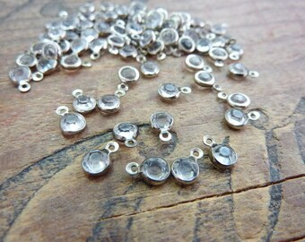 Vintage Drop Dangle Small 4mm Glass Jewel Crystal Drop Bead (10) EW118