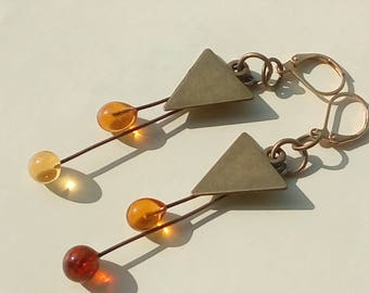 Sunny earrings - bronze and amber