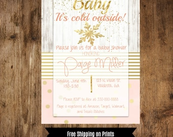 Winter Baby Girl Shower Invitation, Pink and Gold, Snowflake, Gold Glitter, Baby It's Cold Outside, Printable, Downloadable