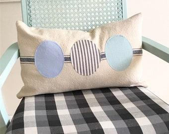 Farmhouse pillow, Farm fresh egg pillow, chicken egg pillow, grain sack pillow