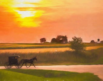 Amish Decor, Rustic Decor, Home Decor, Country Decor, Country Wall Art,  Farming Art, Kitchen Decor, Horse, Buggy, Sunset Buggy Ride