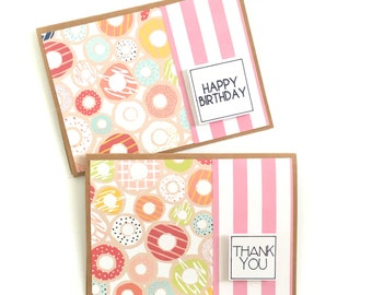 Handmade Donut Thank You and Birthday Cards - Cardstock - 3D - Stripes - Modern
