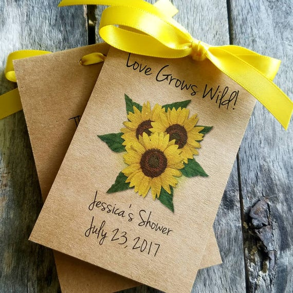 Sunflower Wedding Favor Ideas: Rustic And Shabby Chic Favors Personalized Sunflowers Wedding