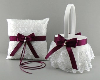 Wine Wedding Bridal Flower Girl Basket and Ring Bearer Pillow Set on White or Ivory ~ Allison Line ~ (May also be purchased individually)
