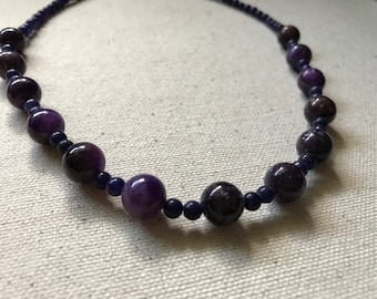Purple amethyst round beads beaded necklace