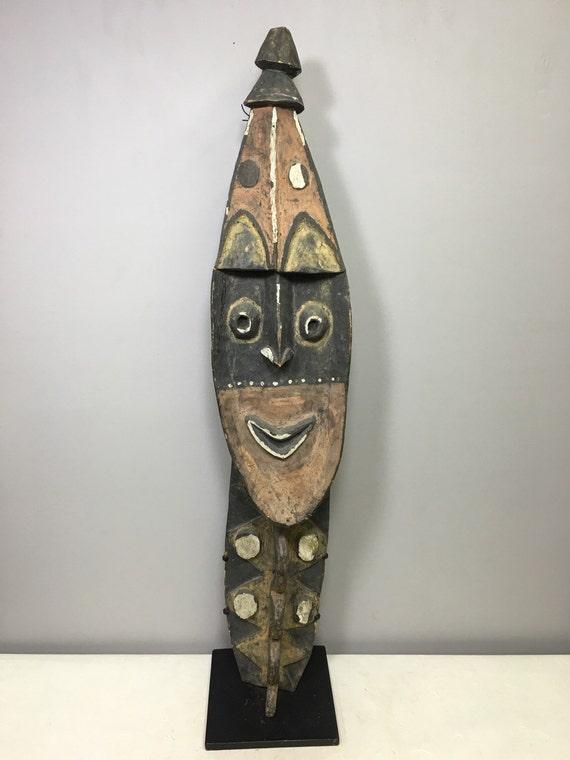 """Papua New Guinea Mask Yena  Yam Carved Wood Kwoma Spirit Clan Symbols Mask 39"""""""