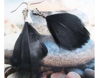 """Black feather"" earring on silver metal flower hook clasp"