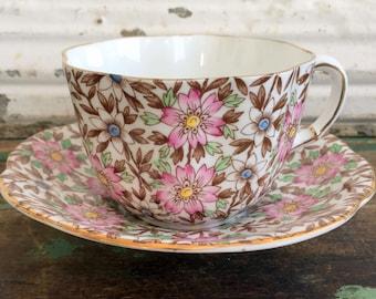 Vintage Floral Chintz Teacup Tea Cup Pink Flowers English Bone China