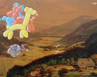 Hot Air Balloon Animals 8.5x11 Print
