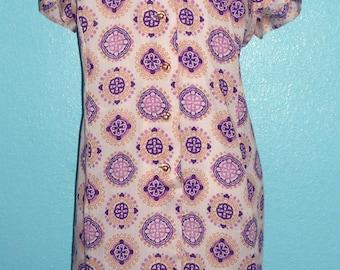 "60s70s Plus ""Diolen""Poly/Cotton Medallion Print Day Dress — Size XXL/18-20"