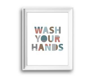 Wash your hands, Printable Kids Art, Bathroom Prints,  Kids Bathroom Decor, Nursery Print, Printable Print, Digital Download, Toilet Sign