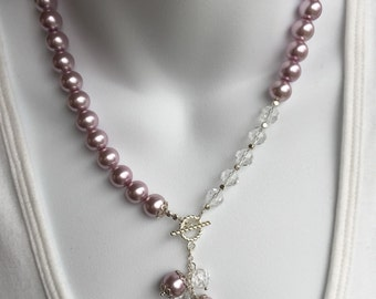 Asymmetrical sparkle necklace and earring set