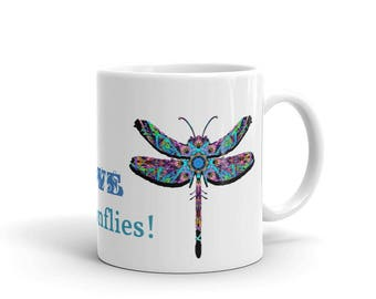 Mug with Psychedelic Dragonfly