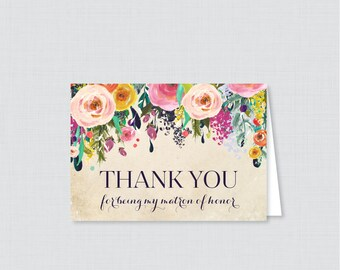 Printable Matron of Honor Thank You Cards - Floral Thank You for Being My Matron of Honor Card, Bridal Thank You - Colorful Flowers 0003-A