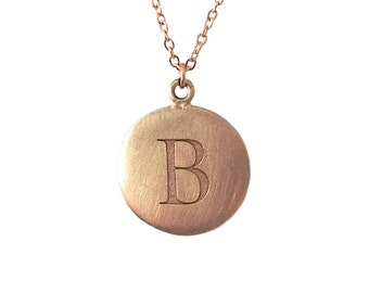 Personalized Name Initial Letter 14K Solid Gold Coin Pendant Charm Necklace, Matte Finished  {Custom Monogram Initials Mother's Day Ideas}