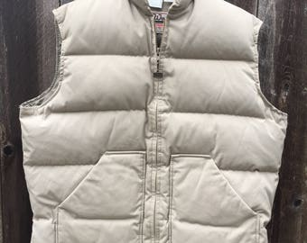 Down Insulated Vest ~ WALLS ~ Made in USA ~ Mens Large ~ 70's Down Vest ~ Vintage Down Vest ~