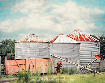 Fixer Upper Wall Decor, Farmhouse Wall Art, Rustic Farm Decor, Grain Silo Photo, Farm Photography, Three Silos Print, Farm Art Print