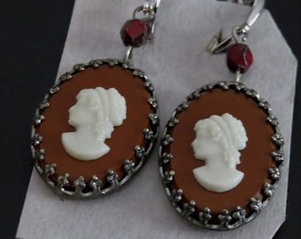 Vintage Cameo Drop Earrings FIligree Silvertone