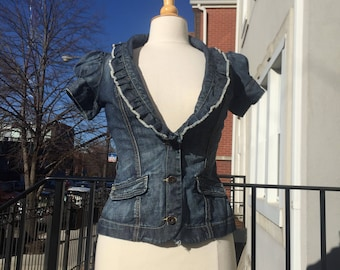 Denim Guess Fitted Frilly Bib Top Puffy Sleeves Baby Doll 90s