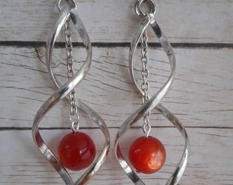 Red twisted earrings