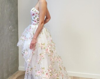 Floral Organza Hi Low Wedding Dress