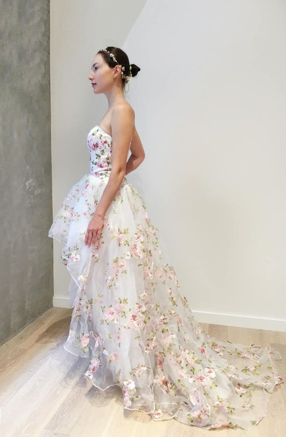 Floral Organza Hi Low Wedding Dress