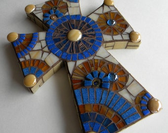 Royal Blue Honey Brown Mosaic Cross, Father's Day Gift, Housewarming Gift, Cabin Decor, Gift for Godfather, Wedding Shower Gift