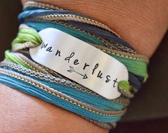 Wanderlust Hand Stamped Ribbon Wrap Bracelet~Bohemian Wrap~