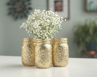 6 Gold Glitter Vases, Gold Home Decor, Gold Mason Jar Vases, Gold Party Decor, Gold Wedding Decor