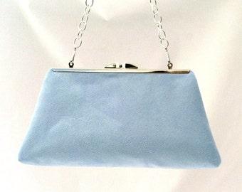 Gorgeous Light Blue Suede Handbag