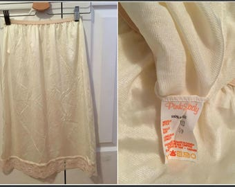 Vintage Pink Lady Slip with Lacy Trim - Size Small
