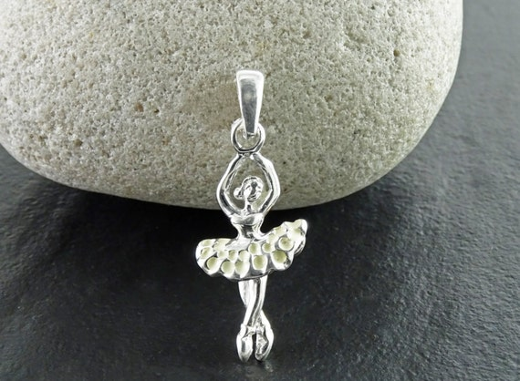 Ballerina Necklace, Sterling silver Pendant, Ballerina Charm, Dance Recital Gift, Dancer Silhouette, Dance Jewelry, White Tutu Dress Skirt