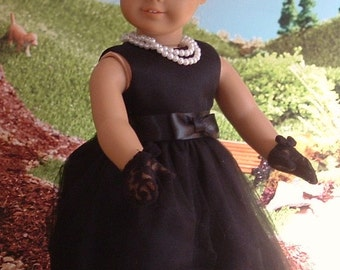 Retro Vintage 1950's Style Little Black Dress and Accessories for American Girl