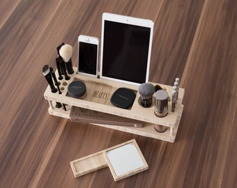 Taylor Schönheit Station | Tägliche Make-up Organizer mit Spiegel - Geschenk für sie - Make-up Pinsel Eyeliner Bleistift erröten iPad Halter - schnelle Lieferung