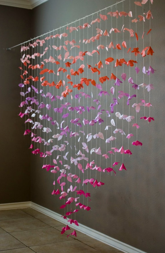 Anthropologie Inspired Paper Flower Garland Coral Lilac And