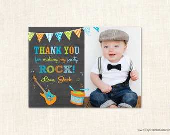 Little Red Wagon Chalkboard Photo Thank You Card Boy And