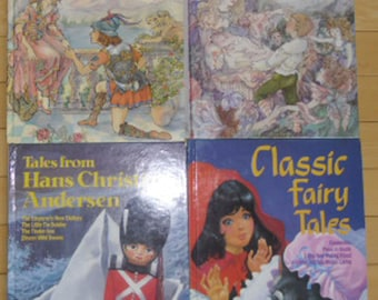 Vintage Childrens Books - 4 Books, Princes and Princesses, Fairies and Elves, Hans Christian Anderson, Classic Fairy Tales, Exeter 1987