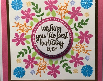 Floral wreath flower happy birthday card pink