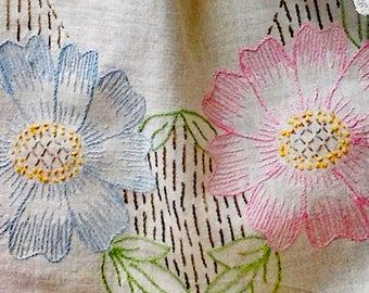 Vintage Embroidered Blue and Pink Dresser Scarf  -  Pastel Floral Embroidery - Blue Flowers and Pink Flowers Vintage Dresser Linen