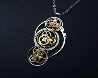 """Watch Gear Pendant """"Champetier"""" Cascading Recycled Mechanical Clockwork Necklace Elegant Sci Fi Steampunk A Mechanical Mind Easter Gift"""