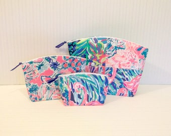 Preppy Pink Blue Lilly Pulitzer Fabric Makeup Bag Case Set of 3