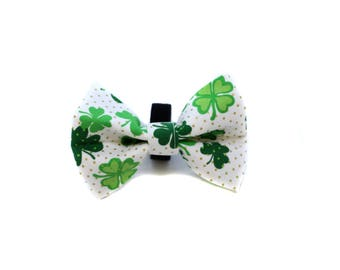 Bow Tie for Dog Collar attaches with hook-and-loop fastener White Shamrock