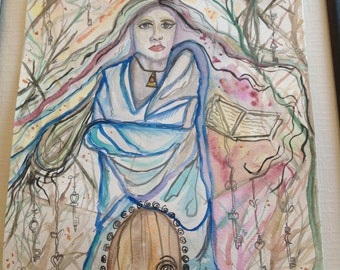 FEARLESS, watercolor, painting, art, witch, Wiccan, thirteen, oracle, keys, door, woods, illustration, magic, priestess, mystery, coven,