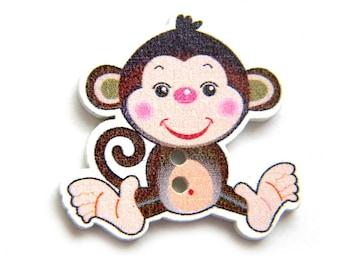 10 Wooden Monkey Buttons