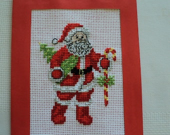 Merry Christmas embroidered cross stitch card: Santa