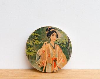 Paint by Number Circle Art Block 'Geisha Girl' -  japanese geisha, asian art, kimono, chinese parasol, japanese art, vintage art