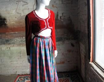 RED VELVET BOLERO 1960's Boho Cropped Red Velvet Bolero Jacket with Metallic Silver Embroidery